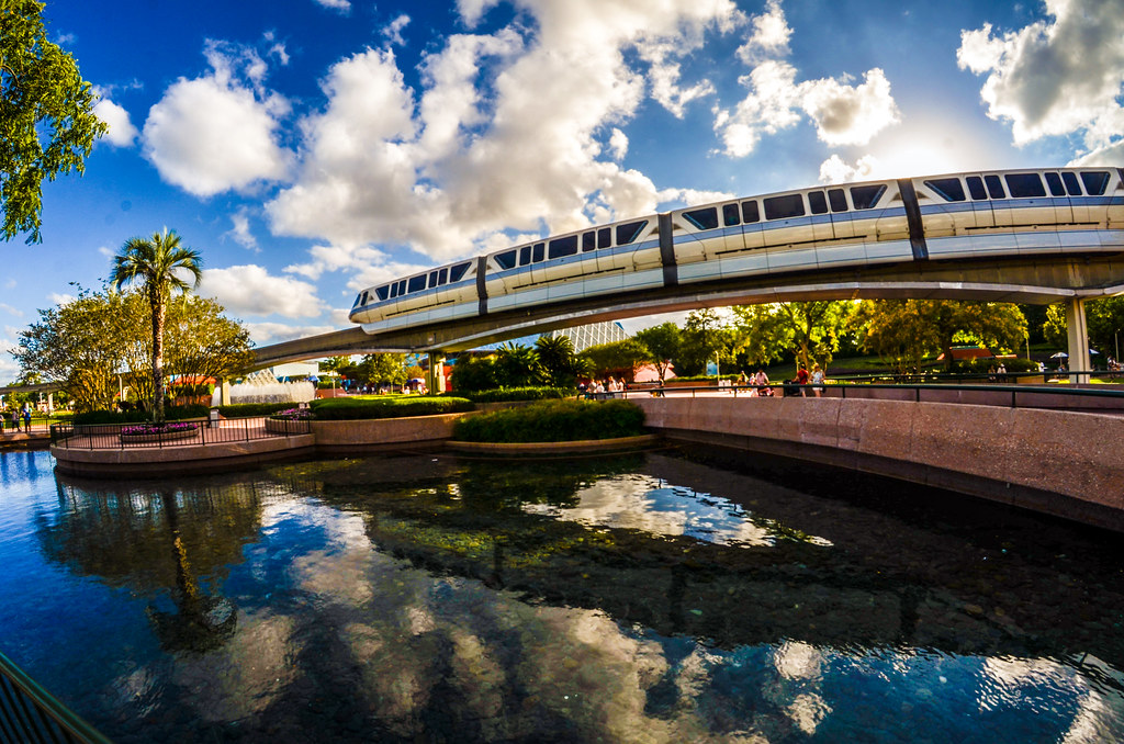 Epcot monorail water reflection