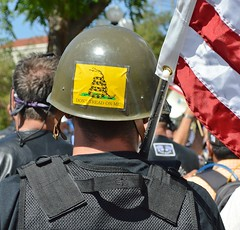 """Stop Sharia Law"" rally supporter displays a ""Don't Tread On Me"" sticker on the army helmet he is wearing."