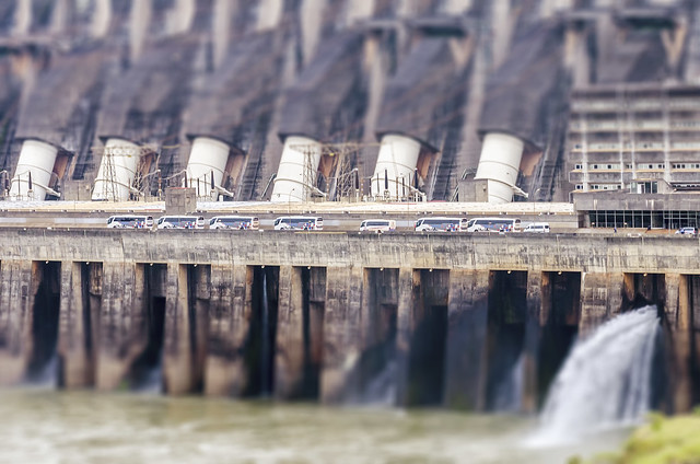 Tilt Shift Itaipu Hydroelectric Dam Buses