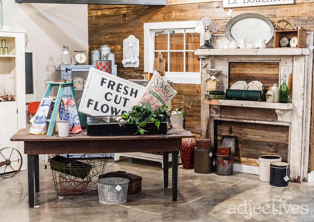 Antique Mantle, antique rustic farm table and home decor in Altamonte by Middleton Mercantile