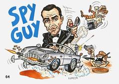 "SPY GUY ~ James Bond / Goldfinger ""ODD RODS"" Trading Card-style illustration by Greg Lunzer"