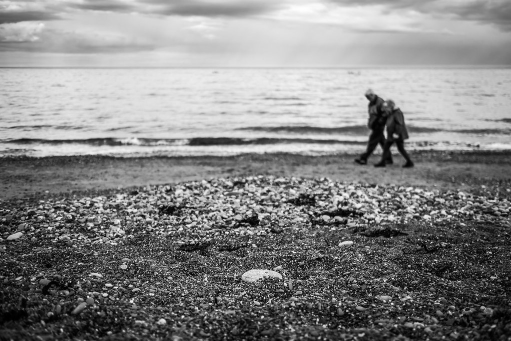 Couple on the beach - Dalkey, Ireland - Black and white street photography