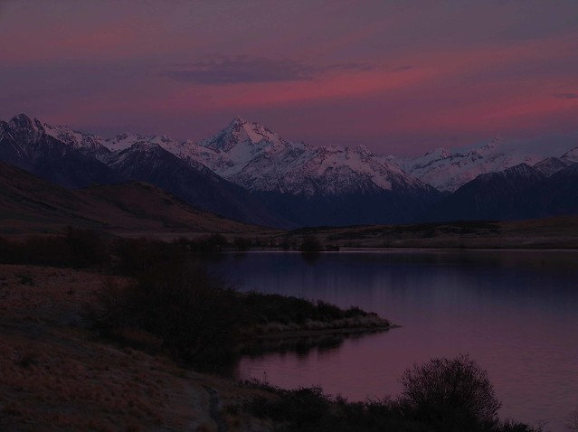 Sunrise over Mt D'Archiac Lake Clearwater New Zealand