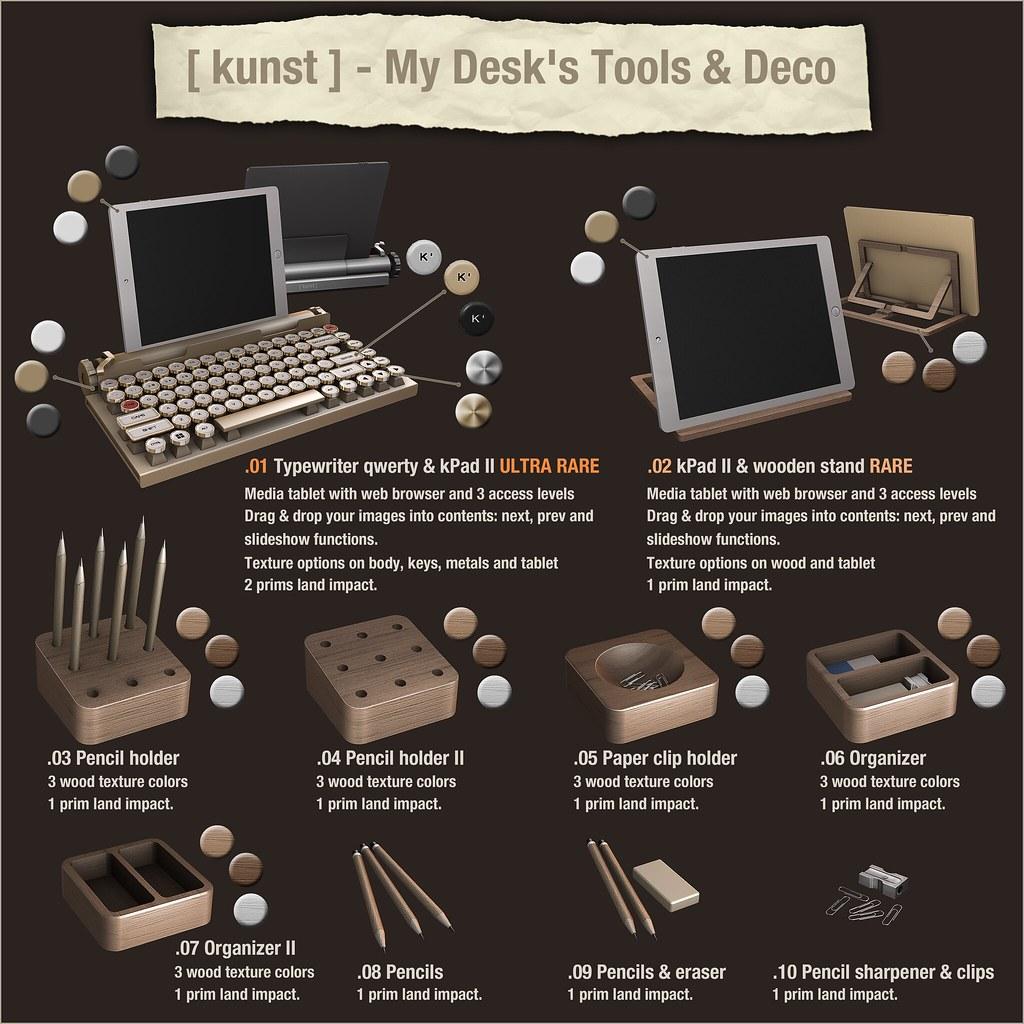 [ kunst ] - My Desk's Tools & Deco - SecondLifeHub.com
