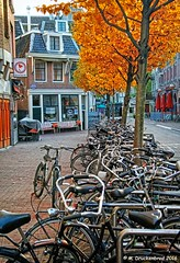 Bikes along a narrow street off Rembrandtplein Amsterdam, The Netherlands