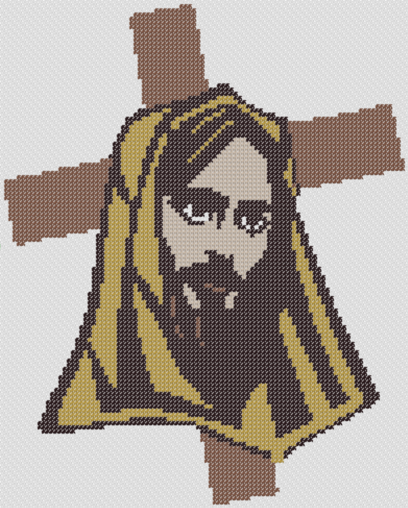 Preview of Jesus and the Cross Portrait: free printable Easter cross stitch patterns