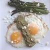 Eggs with leftover mole verde & asparagus