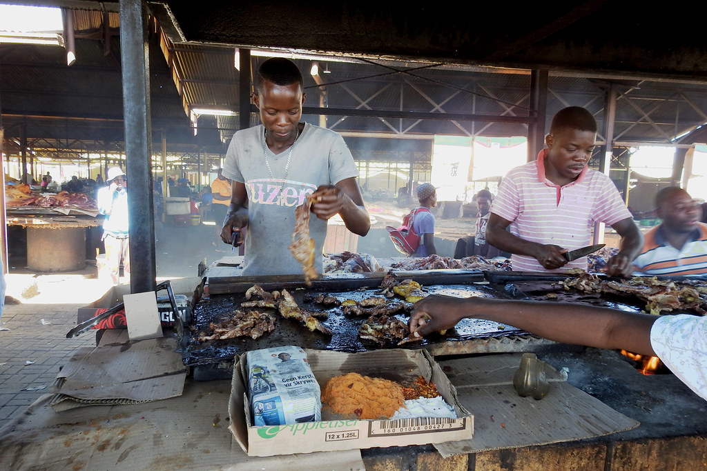 0074 Grilling meat at a local market - Windhoek Namibia - 04-13-2017