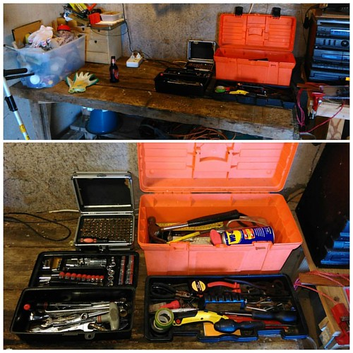 Every tool has a place.  Every tool in its place.   It might not be Snap-on but you'd be amazed at what we have fixed & built with such a basic tool kit.   The bench is now tidy & in order.   Ready for the next task from Slaver Driver Ma.