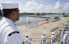 Sailors man the rails as USS Sterett (DDG 104) arrives in Zhanjiang, June 12. (U.S. Navy/MC1 Byron Linder)