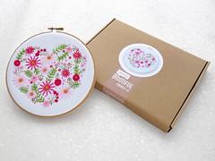 Heart Hoop Art Kit, Pink Flower Embroidery Set, DIY Mothers Day Gift For Mom, Modern Needlework Kit, Floral Heart Embroidery Gift Set, Gifts by OhSewBootiful