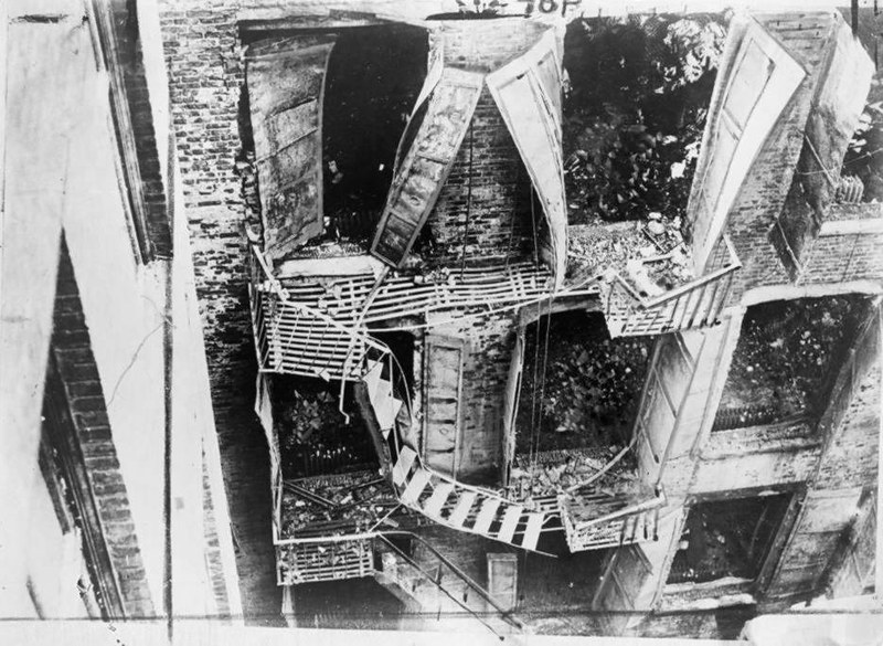 Damaged fire escape at the Triangle Shirtwaist Company after the 1911 fire