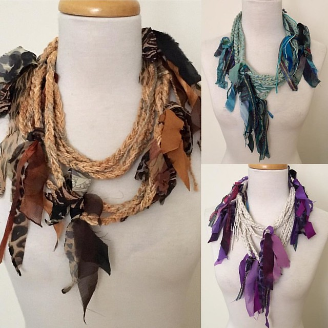 Variations on a theme!  While cleaning out my studio today, I came upon 3 rope scarves I had previously crocheted.  IDEA!!!  How about upcycled strips of fabric, ribbons, yarns attached to the strand?  Et voilà!  What do you think?  #variations#theme#upcy