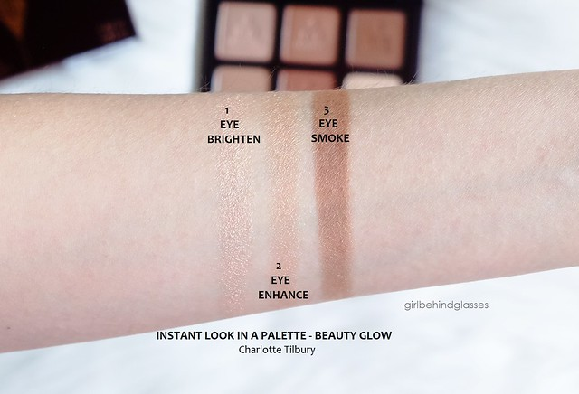 Charlotte Tilbury Instant Look in a Palette Beauty Glow eyeshadow swatches