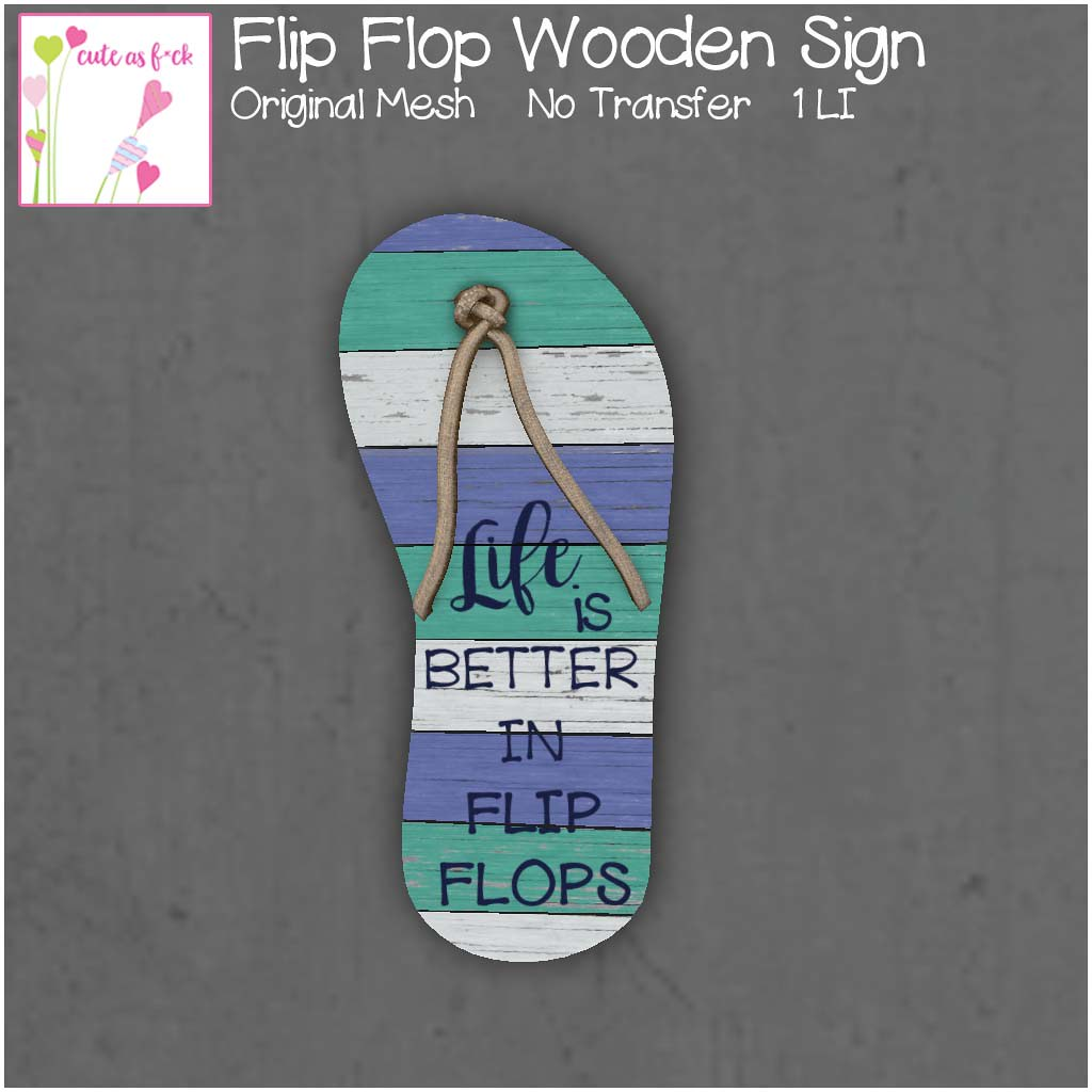 ::cute as f*ck:: Wooden Flip Flop Sign - SecondLifeHub.com