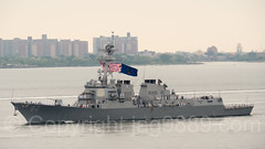 2017 Fleet Week - USS Lassen (DDG 82) Guided Missile Destroyer approaching the Verrazano-Narrows Bridge, New York City