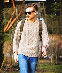 Mens fisherman wool knitwear