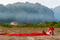 End of the hot air balloon ride - Vang Vieng, Laos