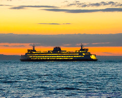 MV Wenatchee Against Puget Sound Sunset