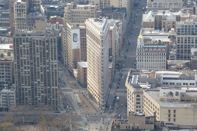 Flatiron Building aka The Fuller Building as seen from Empire State Building Observation Deck in the Garment District of Manhattan in New York City, NY
