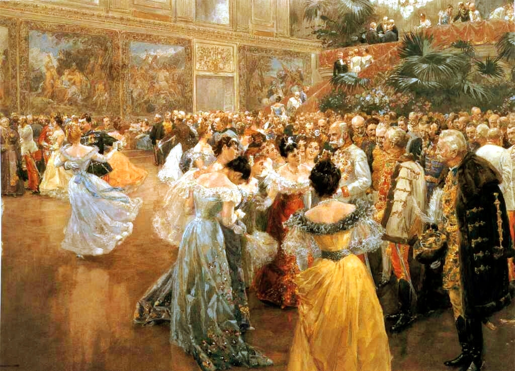 Aristocrats gathering around Emperor Franz Joseph at a ball in the Hofburg Imperial Palace, painting by Wilhelm Gause, 1900