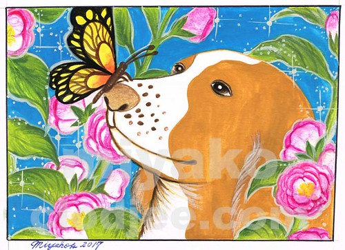 Dog with Butterfly and hollyhocks