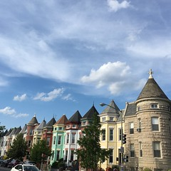Row house turrets and clouds, 11th Street NW, Washington, D.C.