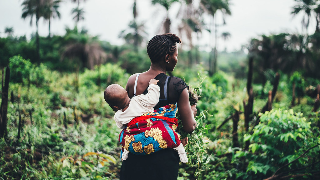 A woman with a baby on her back picking crops in a  Sierra Leone