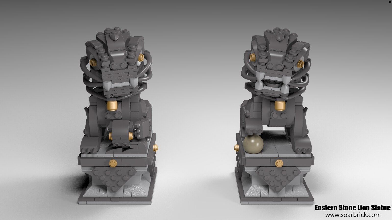 Custom instruction Eastern Stone Lion Statue consisting of LEGO elements