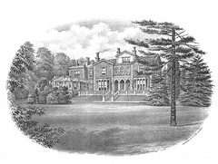 A black-and-white illustration of a grand house with an arched colonnade and a glass conservatory attached at one side.  The view is from some distance away across a grassy garden with well-established trees.