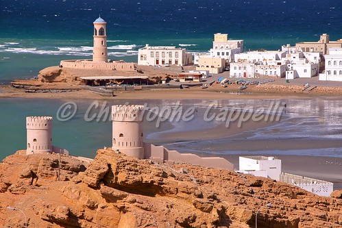 oman sur ayjah beach watchtower harbor port lighthouse arab middleeast gulfofoman