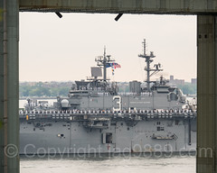 2017 Fleet Week - USS Kearsarge (LHD 3) Amphibious Assault Vessel passing the Verrazano-Narrows Bridge, New York City
