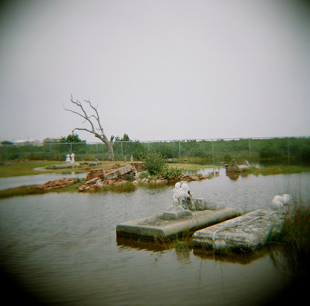 Flooded cemetery