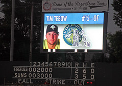 Scoreboard: Tim Tebow at bat
