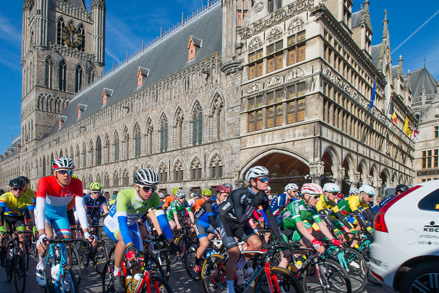 The grand depart of the Ghent-Wevelgem cycle race - in front of the town hall in Ypres