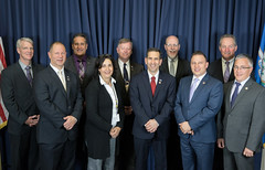 L to R: (back) Rep. Ackert, Rep. Fusco, Rep. France, Sen. Markley, Rep. Piscopo, (front) Rep. Fishbein, Rep. Dauphinais, Rep. Dubitsky, Rep. Sampson and Rep. Candelora.