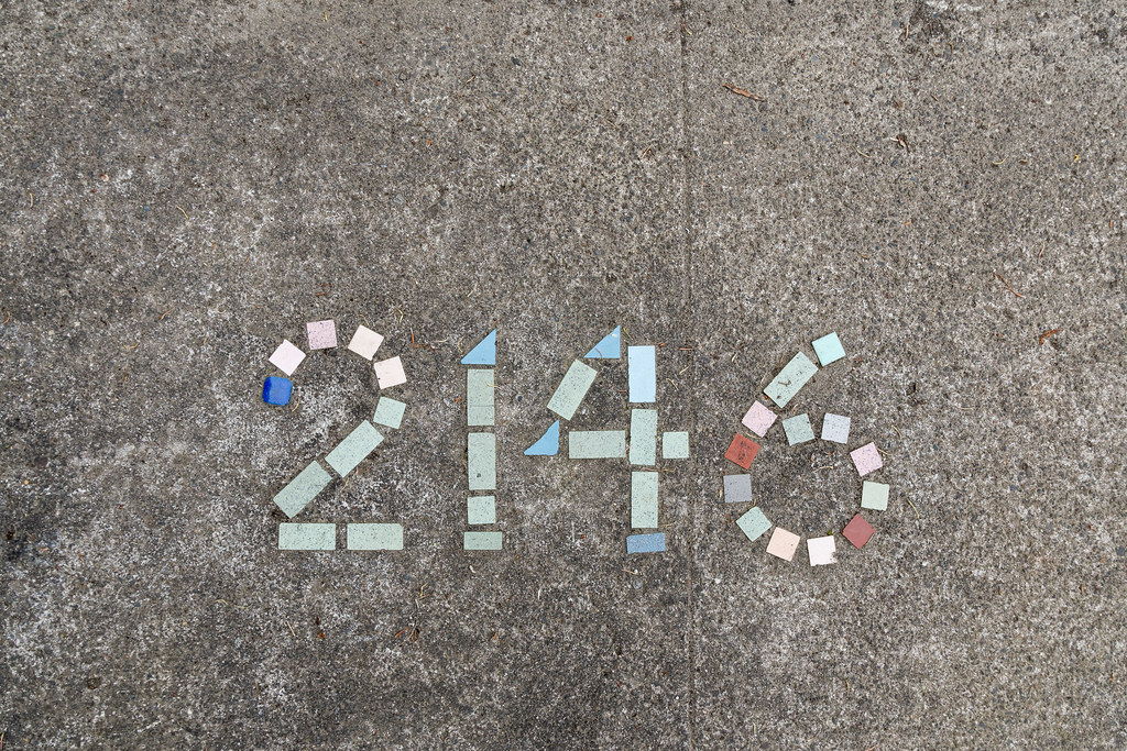 Tiles mark on address on 12th Avenue in the Irvington neighborhood of Portland, Oregon