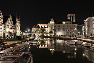 Night lights and reflections on the Leie in central Ghent