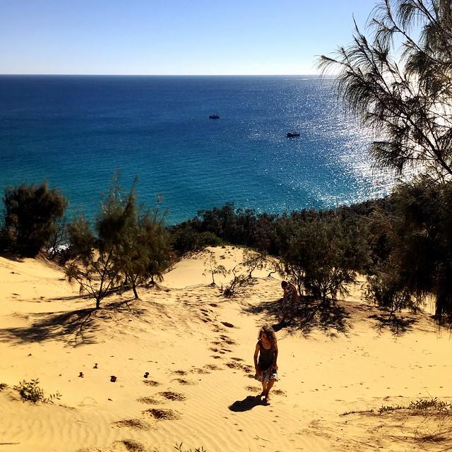 DB slogging up the sand dune. Moreton Island, Queensland.