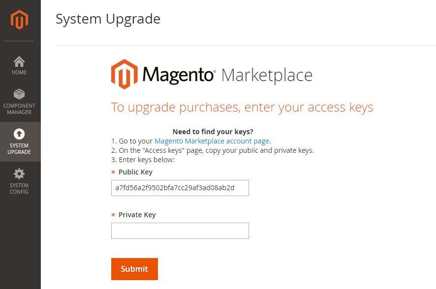 authentication keys Magento