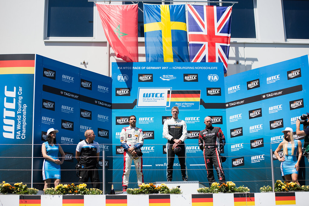 Podium BJORK Thed (swe), Volvo S60 Polestar team Polestar Cyan Racing, BENNANI Mehdi (mor), Citroen C-Elysee team Sebastien Loeb Racing, HUFF Rob (gbr), Citroen C-Elysee team ALL-INKL.COM Munnich Motorsport, ambiance portrait during the 2017 FIA WTCC World Touring Car Race of Nurburgring, Germany from May 26 to 28 - Photo Antonin Vincent / DPPI