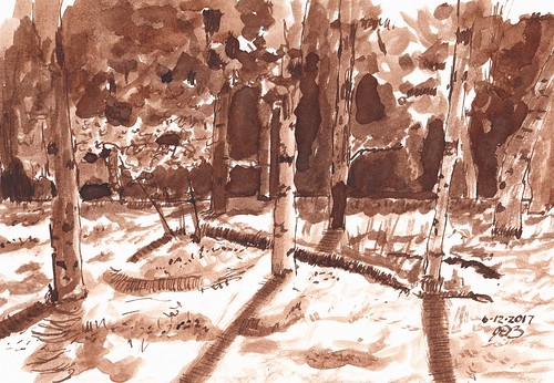 pen landscape trees ink penandink