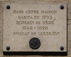 Photo of Romain de Sèze stone plaque