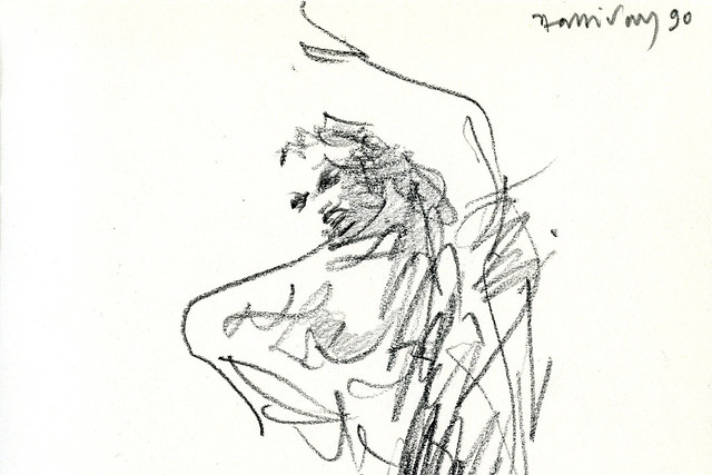 Detail from Triumphal dance. Elektra. Page 27 of Alan Halliday's sketchbook of the general rehearsal of Elektra, The Royal Opera, 1990 © ROH Collections