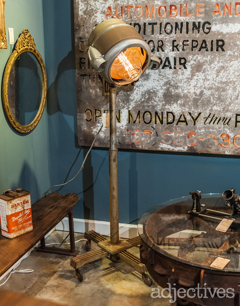 Industrial edison bulb floor lamp and mirror by The Rustic Punk at Adjectives Altamonte