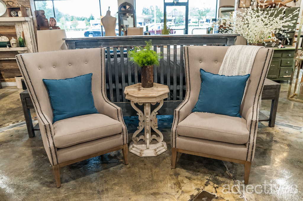 High back upholstered chairs at Adjectives Altamonte