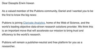 Publons announcement: Clarivate Analytics acquires Publons