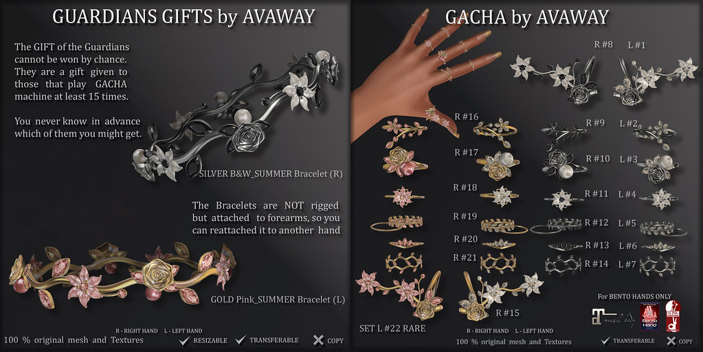 THE GACHA GUARDIANS by AvaWay (for Vista, Maitreya, Slink bento hands)