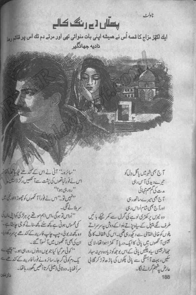 Phullan De Rang Kaly  is a very well written complex script novel which depicts normal emotions and behaviour of human like love hate greed power and fear, writen by Nadia Jahangir , Nadia Jahangir is a very famous and popular specialy among female readers