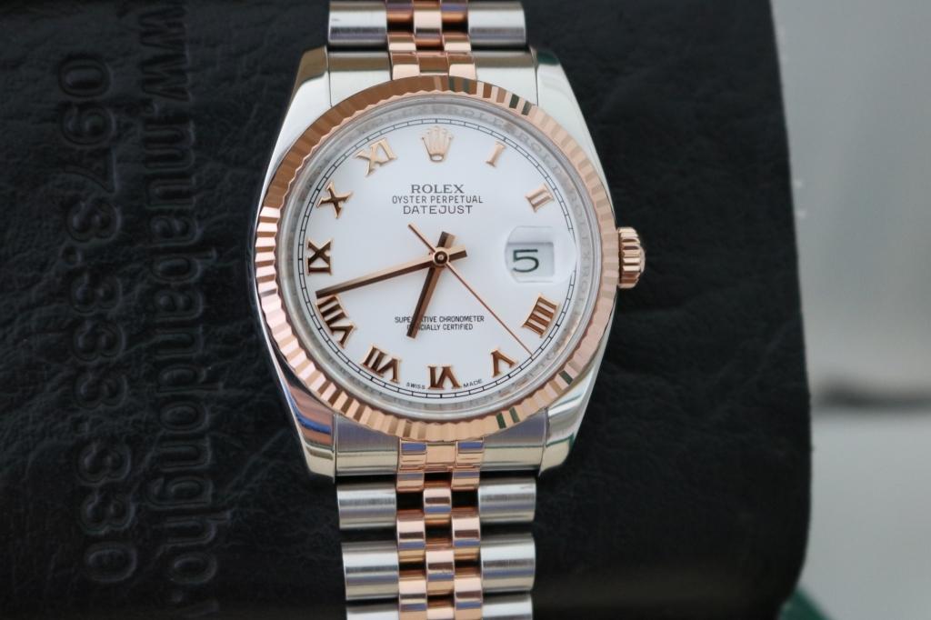 Đồng hồ rolex datejust 6 số 116231 – đè mi vàng hồng 18k – size 36mm